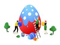 Easter isometric illustrations