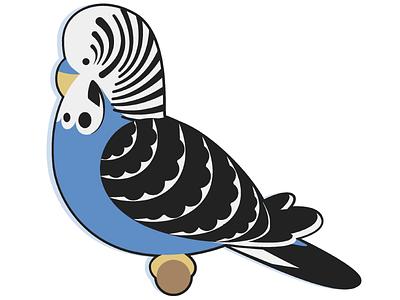 Budgie Doodle bird illustration budgie illustrator parakeet stripes perch simple flat cute cartoon doodle