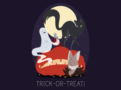 Trick-or-Treat! halloween holiday simple moon ghost cat bat rat pumpkin illustrator