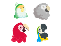 Cute Bird, Grump Bird, Red Bird, Blue Bird