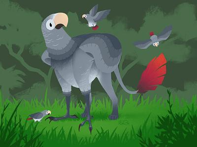Greyphon illustration parrot timneh africangrey gryphon griffin fantasy art procreateapp ipadpro