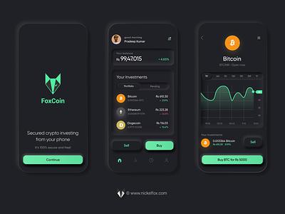 FoxCoin Crypto App- Neumorphic Dark Concept ios app ui concept modular neon concept dark theme neumorphism ui