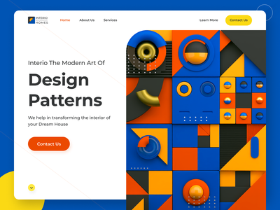 Abstract Hero Section Concept | Landing page | 3D modern web page modern art scribble balance vibrant geometric art geometric shapes web concept abstract web page furniture web page ui 3d illustration modular 3d shapes abstract illustration concept hero page landing page