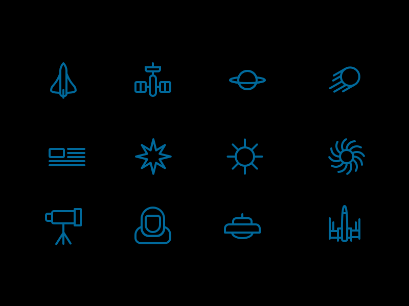 Space Icons - Free Sketch Pack mars shuttle ufo satellite iconography icons starwars xwing sketch freebie nasa space