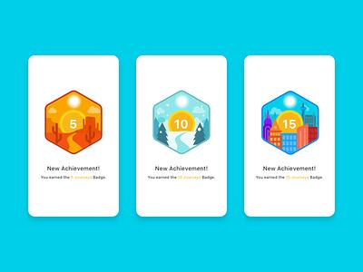 Achievement Badge Illustrations city snow desert landscapes awards achievements illo illustrations badges
