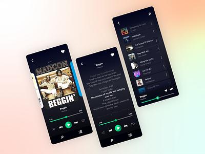Music Player ui design dribbble page design illustration graphic design ux ui mobile