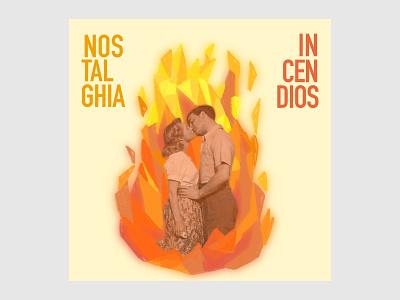 Incendios concert gig flame vintage music art graphic design poster illustration
