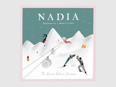 NADIA Christmas december white blue greeting card perfume beauty couple kiss skii snow christmas collage illustration art