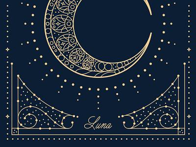Luna script border monoweight starburst dots ornamentation space stars art nouveau moon luna