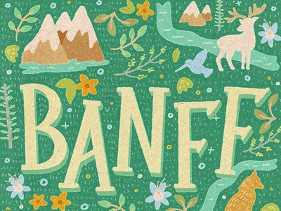 Banff National Park playful lettering midcentury deer moose mountains typography national park canada banff national park banff