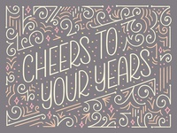 Cheers to Your Years Birthday Card Lettering