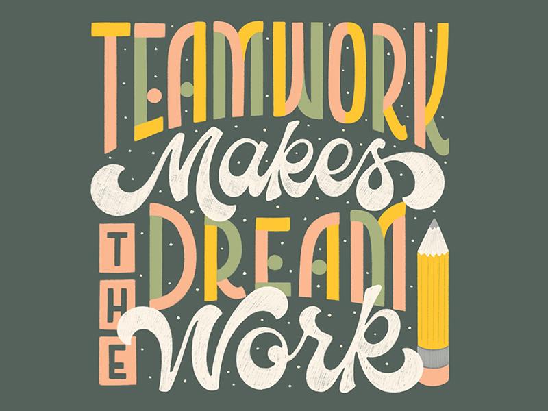 teamwork makes the dream work collaborative piece by katie johnson