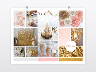 "Mood board: ""Soft and cosy Xmas"" graphic designer graphic design mood board christmas gold pink freelance"