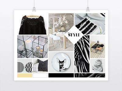 "Mood board: ""Graphic Chic Xmas"" graphic designer graphic design mood board christmas white black freelance"