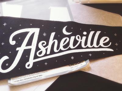 Asheville Pennant north carolina asheville moon stars brand lettering type flag texture black pennant