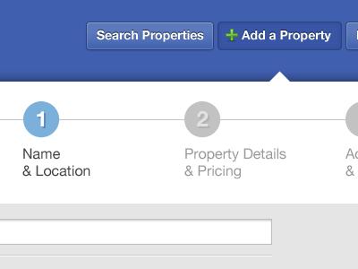 Property Listing Flow steps photoshop web design blue gray real estate