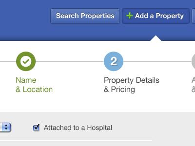 Property Listing Flow 2 web blue photoshop design medical steps real estate