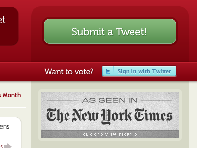 Tweaks + Shameless Plug tth twitter red design redesign ui web tweeting too hard