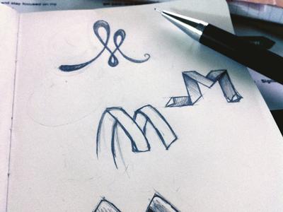 Brainstorming Personal Marks pencil sketch identity logo m photo