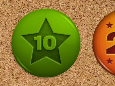 Awards award pin photoshop green orange cork