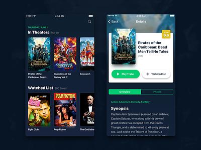 TMDB iOS App Concept dailyui sketchapp user interface interface ui darkui theater movie ios app