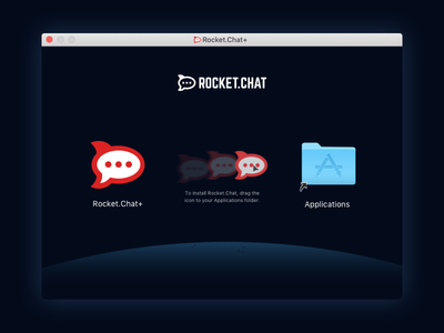 Rocket.Chat macOS Installer ui interface apple illustration files planet space macos dark