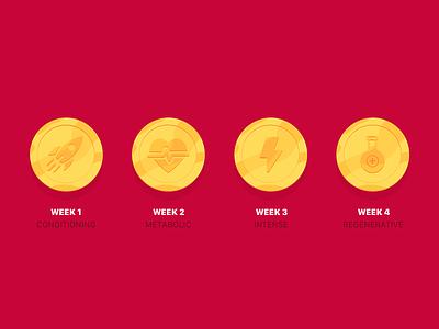 ARES: Golden Badges vector icon set gym app workout tracker workout app badges icon illustration