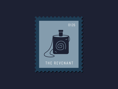 The Revenant bottle icon revenant movie flask illustration vector stamp postage daily postage