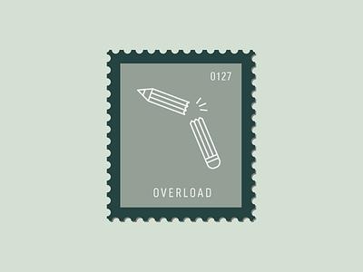 Overload pen pencil broken pencil illustration vector icon stamp postage daily postage