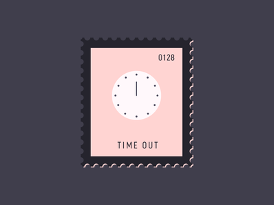 Time Out clock illustration vector icon stamp postage daily postage