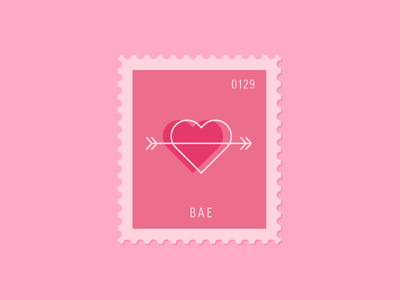 Bae arrow heart illustration vector icon stamp postage daily postage