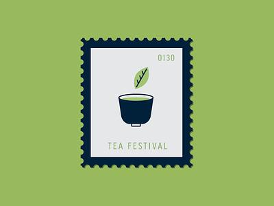 Tea Festival drink cup tea leaf tea illustration vector icon stamp postage daily postage