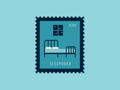 Sleepover bedroom night bed sleepover vector icon stamp postage daily postage