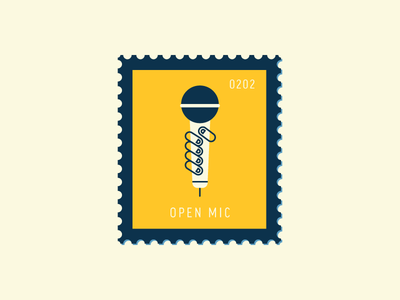 Open Mic comedy speaker hand microphone illustration vector icon stamp postage daily postage