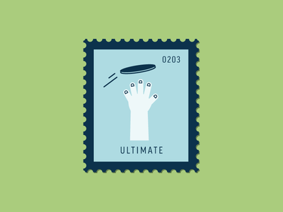Ultimate hand sport frisbee ultimate vector icon design graphic illustration stamp postage daily postage