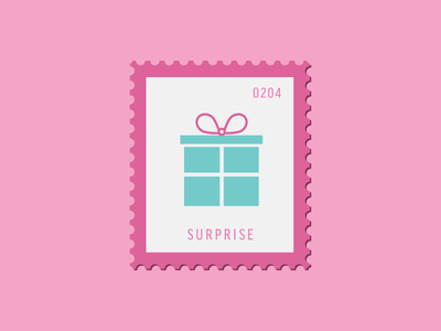 Surprise gift present vector icon design graphic illustration stamp postage daily postage
