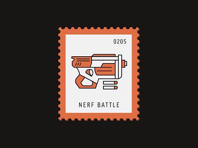 Nerf Battle battle toy nerf gun vector icon design graphic illustration stamp postage daily postage