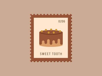 Sweet Tooth chocolate cake dessert vector icon design graphic illustration stamp postage daily postage