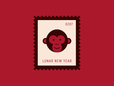 Lunar New Year animal lunar monkey new year vector icon design graphic illustration stamp postage daily postage