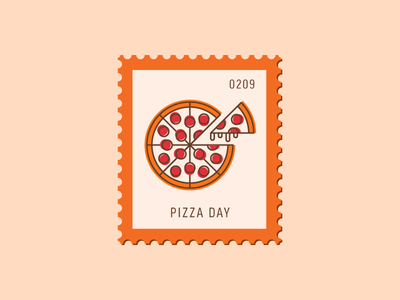 Pizza Day pepperoni food snack pizza vector icon design graphic illustration stamp postage daily postage