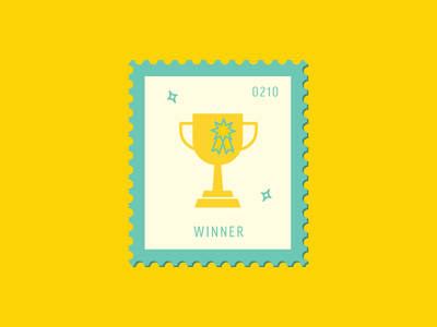 Winner winner trophy vector icon design graphic illustration stamp postage daily postage