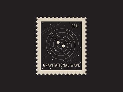 Gravitational Wave einstein black hole space wave gravity vector icon stamp postage daily postage
