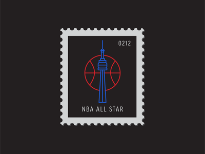 NBA All Star toronto cn tower basketball nba vector icon design graphic illustration stamp postage daily postage