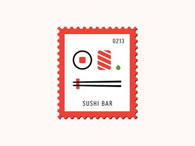 Sushi Bar japan food sashimi sushi vector icon stamp postage daily postage