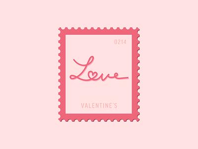 Valentine's valentines heart love vector icon stamp postage daily postage
