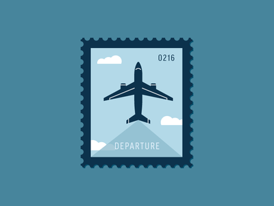 Departure transportation cloud sky travel plane air plane vector icon stamp postage daily postage