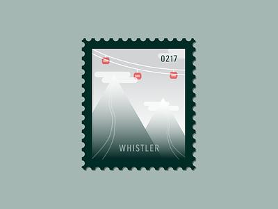 Whistler ski mountain gondola canada vector icon stamp postage daily postage