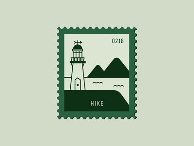 Hike building hiking travel mountain lighthouse vector icon flat design illustration stamp postage daily postage