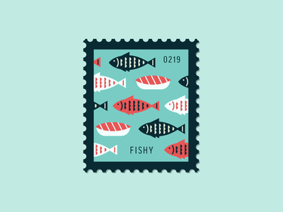 Fishy flat sushi fish vector icon design graphic illustration stamp daily postage