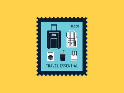 Travel Essential food bag travel luggage vector icon design graphic illustration stamp postage daily postage